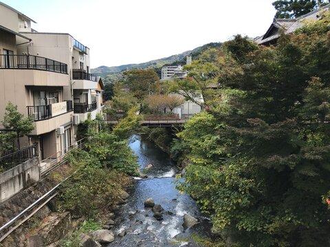 Bridge over the River in Hot Spring Village in Japan
