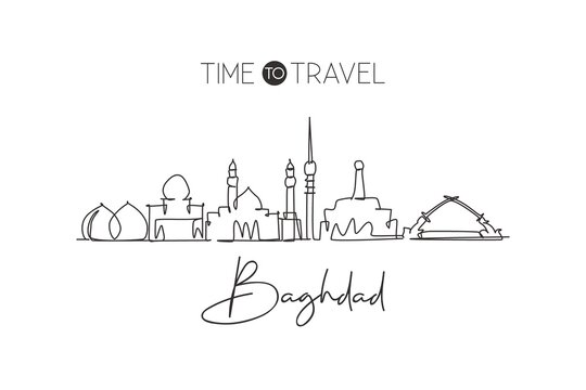 One continuous line drawing of Baghdad city skyline, Iraq. Beautiful city landmark. World landscape tourism and travel vacation. Editable stylish single line draw design vector graphic illustration