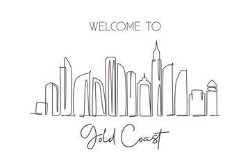 Single continuous line drawing of Gold Coast city skyline, Australia. Famous city landscape. World travel concept wall home decor art poster print. Modern one line draw design vector illustration Wall mural