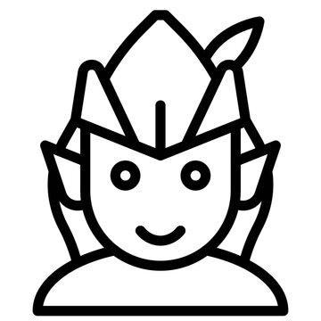 Elf avatar, Halloween costume vector illustration