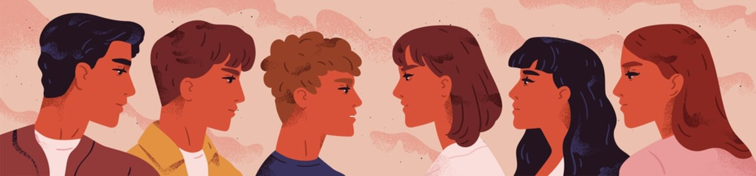 Young men and women standing opposite and looking at each other. Concept of confrontation between male and female characters. People choosing a partner. Vector illustration in flat cartoon style