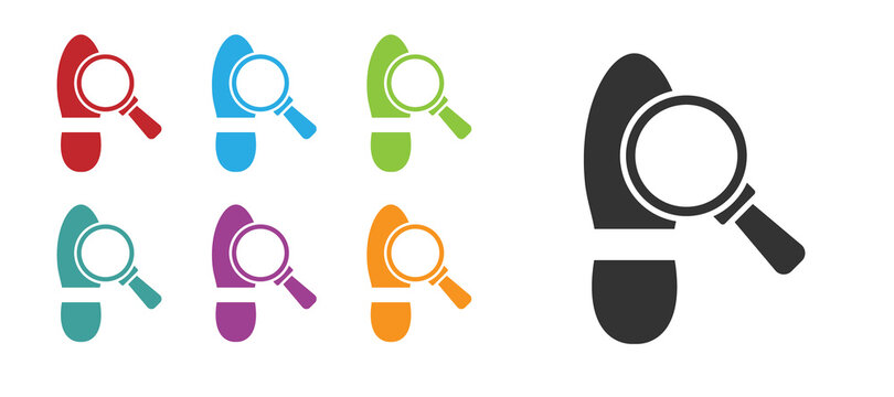 Black Magnifying glass with footsteps icon isolated on white background. Detective is investigating. To follow in the footsteps. Set icons colorful. Vector.