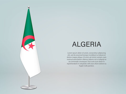 Algeria hanging flag on stand. Template forconference banner