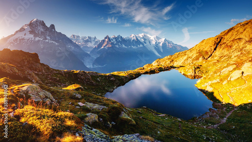 Wall mural Mighty Mont Blanc glacier with lake Lac Blanc. Location Chamonix resort, Graian Alps, France, Europe.