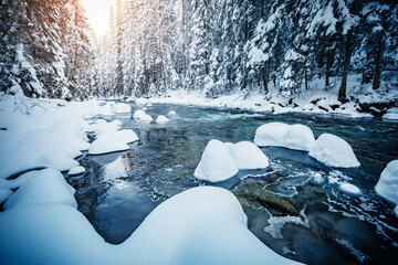 Wall Mural - Splendid view of frozen stones in calm river on a frosty day.