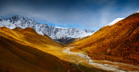 Wall Mural - Fantastic snow range of Caucasus Mountains and peak Shkhara. Location place of Zemo Svaneti, Georgia country.