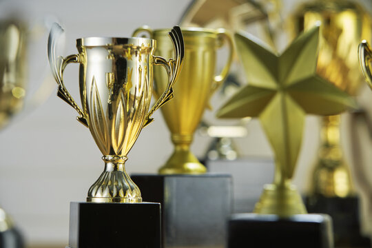 selective focus on one trophy with other trophies as background