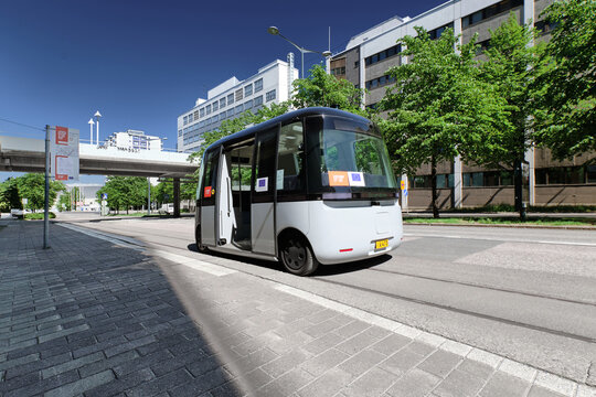 Helsinki, Finland - June 12, 2020: The FABULOS Project - testing self-driving bus in city street in Pasila district.