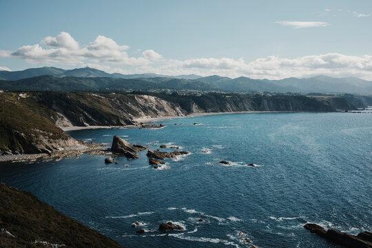 Cantabrian sea and cliffs in Cabo Vidio, Spain.