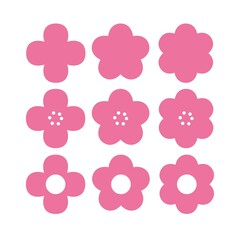 Set of different pink flowers on white background