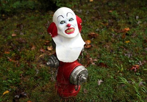 Halloween mask atop a fire hydrant in Falls Church, Virginia