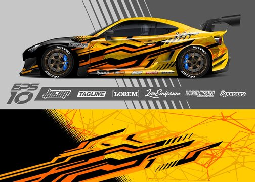 Car livery design vector. Graphic abstract stripe racing background designs for vehicle, race car, rally, adventure.