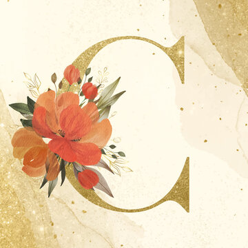 Golden Alphabet C with watercolor flower decoration on gold background for branding and wedding logo