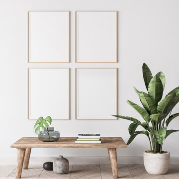 mock up poster frame in modern interior background, gallery wall in gray living room, Scandinavian Boho style
