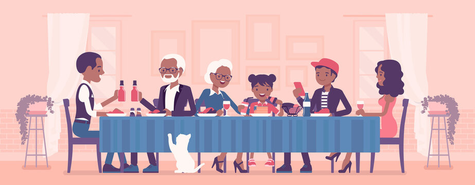 Big happy black family eating festive dinner at table. Holiday gathering for many people of different generations, friends, community, dining traditions. Vector creative stylized illustration