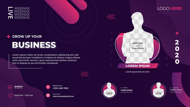 Dark purple liquid background. Suitable for web banner, business webinar, marketing webinar, Online class, landing page and many more