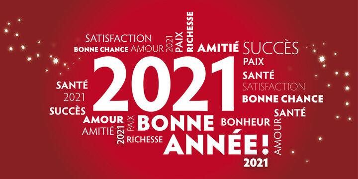 Carte de voeux – bonne année 2021 - rouge.