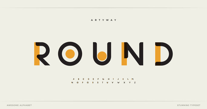 Round modern alphabet. Dropped stunning font, type for futuristic logo, headline, creative lettering and maxi typography. Minimal style letters with yellow spot. Vector typographic design