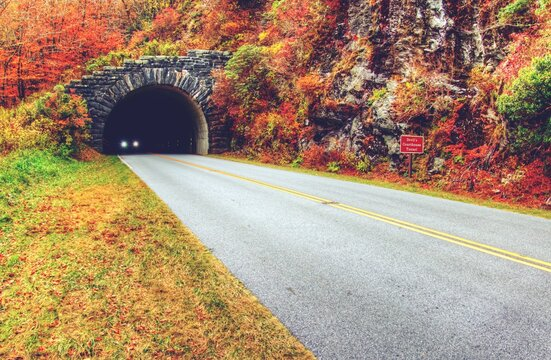 A beautiful landscape of the Blue Ridge Parkway road in retro autumn colors. Copy space