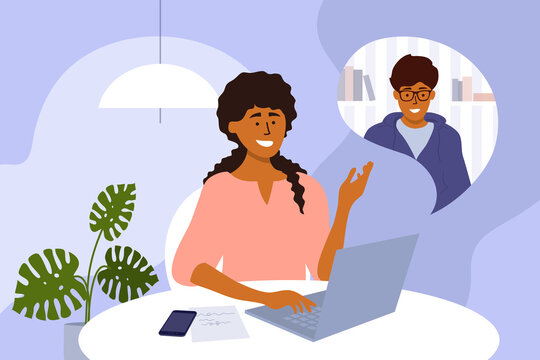 Online video call, team work, networking or business conference. Man and woman talking by laptop webcam. Hiring, job interview, employment. E-learning, web education. Home office vector illustration