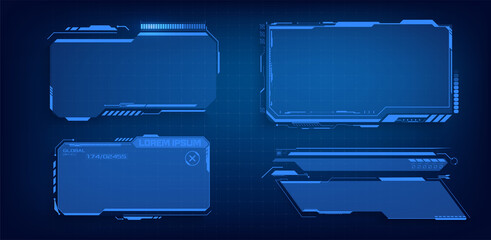 HUD, UI, GUI futuristic frame user interface screen elements set. Set with call outs communication. Abstract control panel layout design. Blue Virtual hi Scifi technology gadget