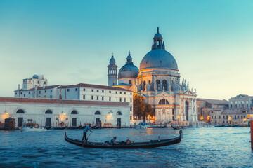 Basilica Santa Maria della Salute in sunset time, Venice, Italy