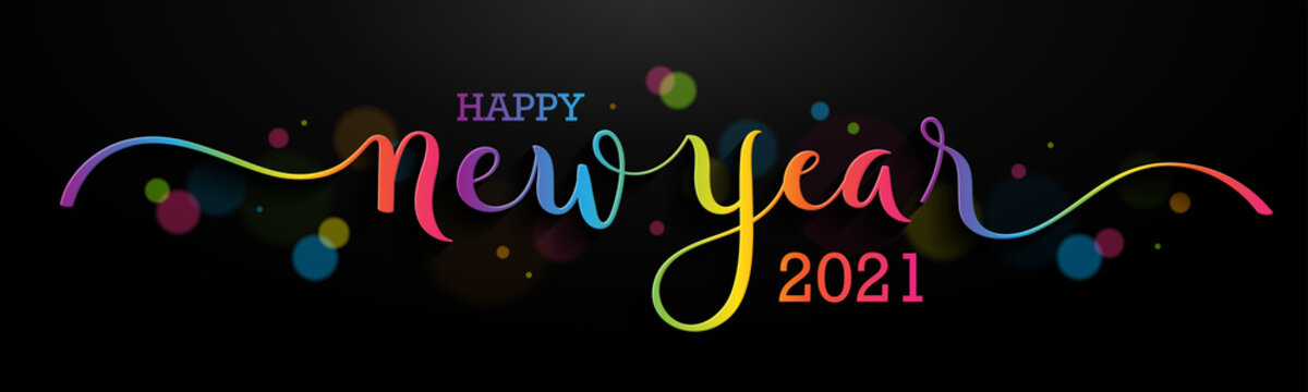 HAPPY NEW YEAR 2021 colorful rainbow gradient vector brush calligraphy banner with swashes on black background