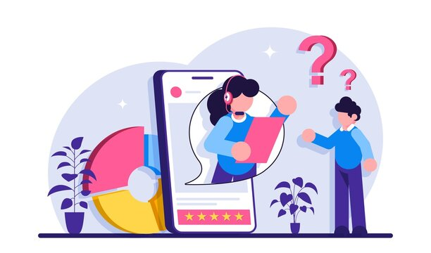Custom service website UI. Consumer making purchase. Website live chat. User experience, retail ecommerce, online shopping, product and service. Modern flat illustration.