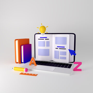 Concept for online education, home study, distance education and online courses. 3d render