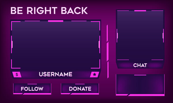 Stream Overlay Be Right Back Screen Bright Pink and Purple Theme with Chat Box. Facecam and Panel Design. Vector Illustration