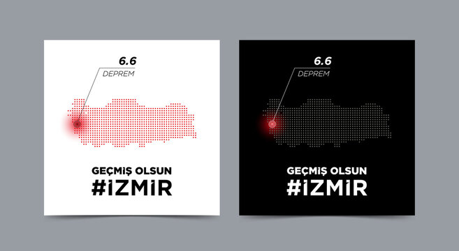 Turkey big disasters in Izmir Turkey from Aegean earthquake 6.6 Richter at Samos,Greece.get well soon izmir (Translation: Gecmis olsun izmir) vector illustration.
