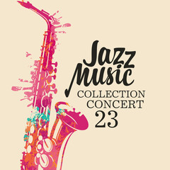 Poster for a jazz music concert with a bright abstract saxophone in form of bright spots and lettering on a light background. Suitable for vector flyer, invitation, banner, cover, advertisement