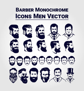 Set of Vintage Barber Monochrome Icons Men Vector Graphics Elements. Editable and Color Changeable. 300 dpi. If you will need any help just mail me banglarfreelancer@gmail.com.