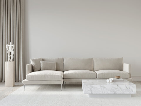 Living room interior in beige tones with a corner sofa and ma…