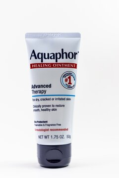 Aquaphor Healing Ointment isolated on a white background