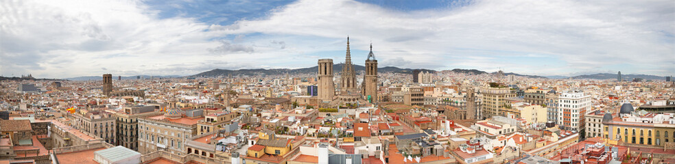 Barcelona - The panorama of the city with the old Cathedral in the centre.