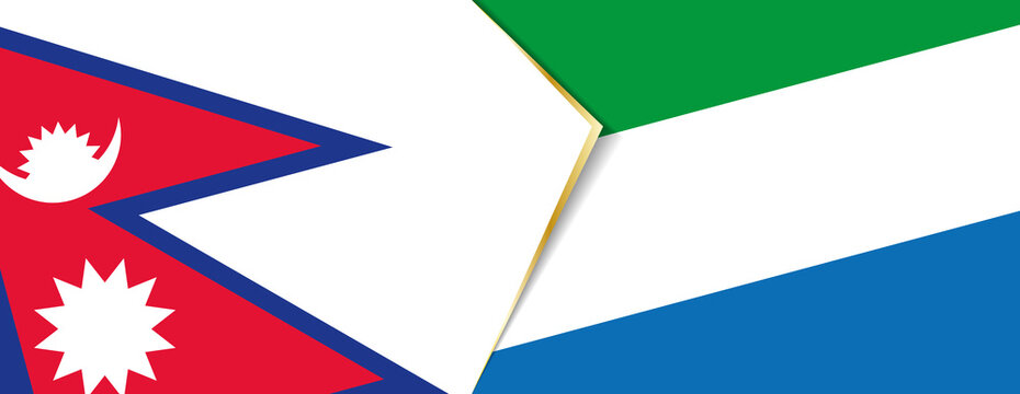 Nepal and Sierra Leone flags, two vector flags.