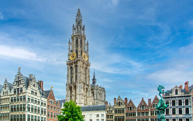 Antwerpen / Anvers main square in Flanders, Belgium