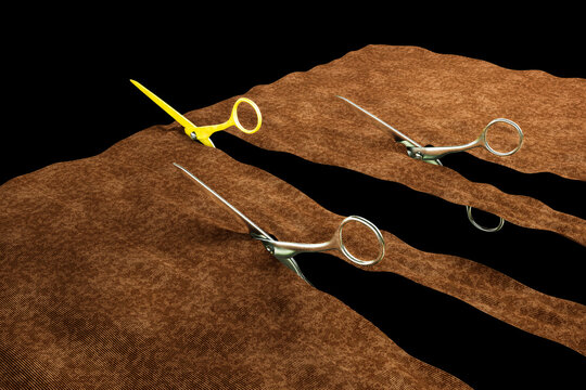 Three pair of scissors cut a fabric among a golden scissors and overpass them like a race.Standing out from the crowd or go your own way or being different concept. 3d Render
