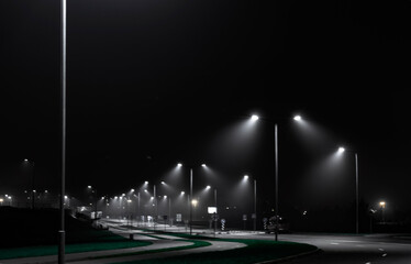 Landscape horizontal photography of an empty city road at night lit white light of street lamps standing along the road Fotomurales