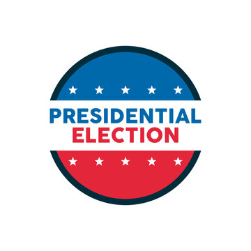 presidential election lettering with stars stamp
