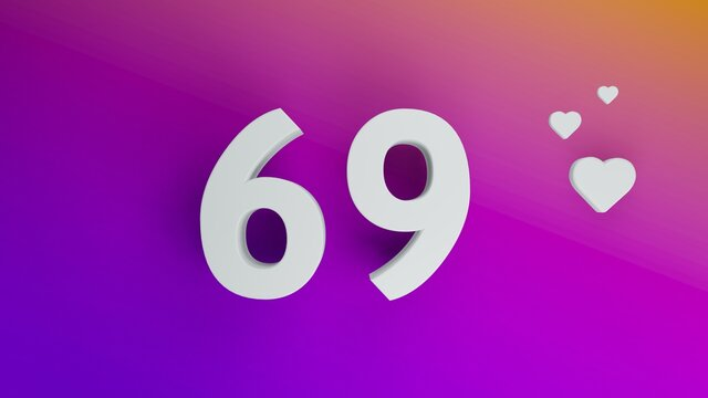 Number 69 in white on purple and orange gradient background, social media isolated number 3d render