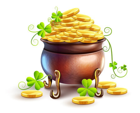 Pot with gold coins for Saint Patricks Day Holiday. Hidden treasures from Irish traditions. Green leaves of clover plant. Isolated on white transparent background. Illustration.