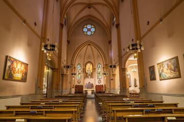 BARCELONA, SPAIN - MARCH 3, 2020: The nave of church Parroquia de la Mare de Deu de Nuria.
