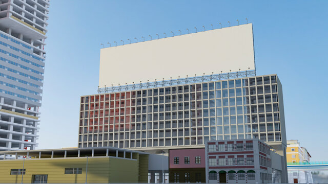 3D rendering mockup blank outdoor billboard on rooftop building