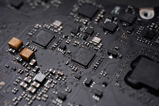 KL, MALAYSIA - SEPT 4TH, 2019 : A High end AMD graphic chipset on apple macbook pro mother board.