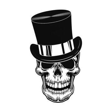 Skull in top hat vector illustration. Head of scary character in gentleman cylinder hat. Headwear concept for retro fashion or style topics, bar or club emblems template