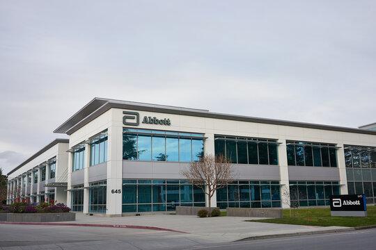 Sunnyvale, CA, USA - Feb 29, 2020: American medical devices and health care company Abbott Laboratories corporate office in Sunnyvale, California.