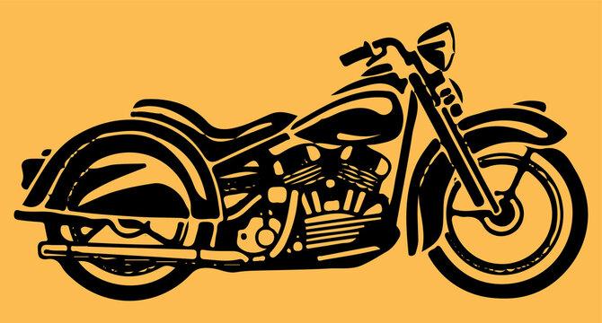 Sketch of Avenger or Motor Bike Outline Editable Illustration