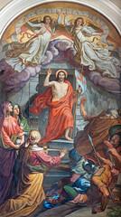 VIENNA, AUSTIRA - OCTOBER 22, 2020: The fresco of Resurrection in St. John the Nepomuk church by Leopold Schulz (1846).